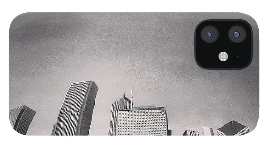 America IPhone 12 Case featuring the photograph Cloud Gate Chicago Skyline Reflection by Paul Velgos