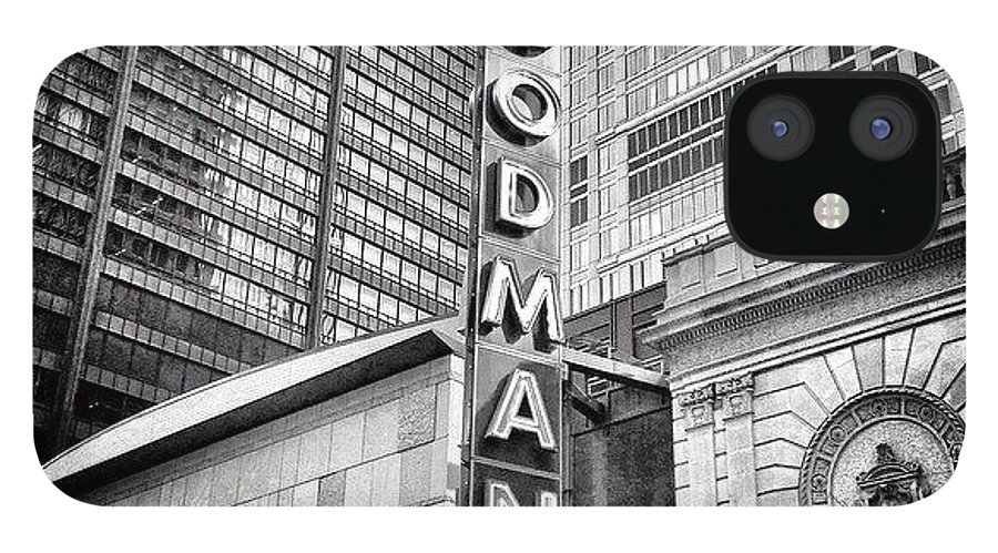 America IPhone 12 Case featuring the photograph Chicago Goodman Theatre Sign Photo by Paul Velgos
