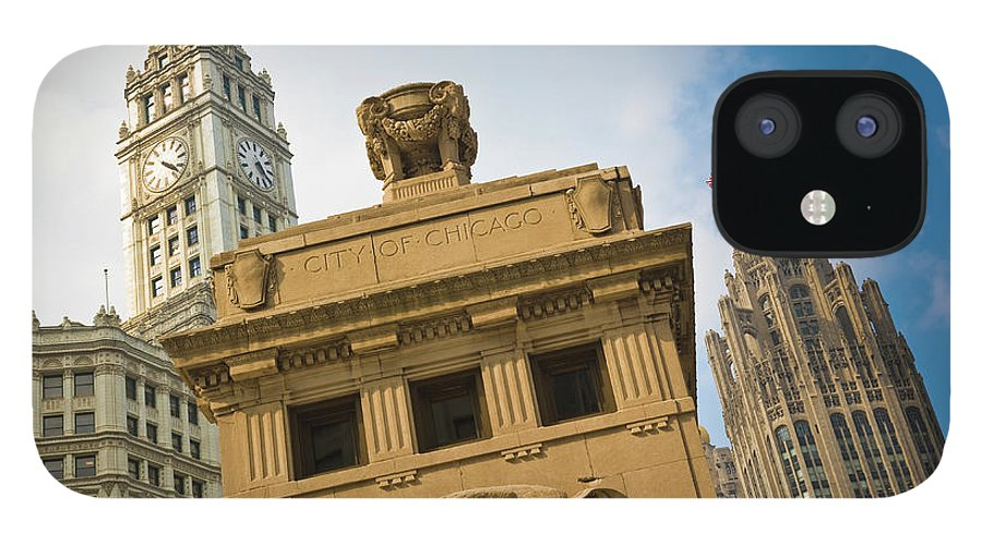 Relief Carving IPhone 12 Case featuring the photograph Chicago by Jmsilva