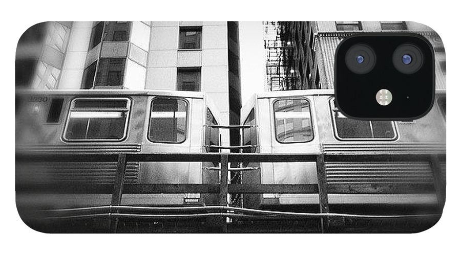 America IPhone 12 Case featuring the photograph Chicago L Train In Black And White by Paul Velgos