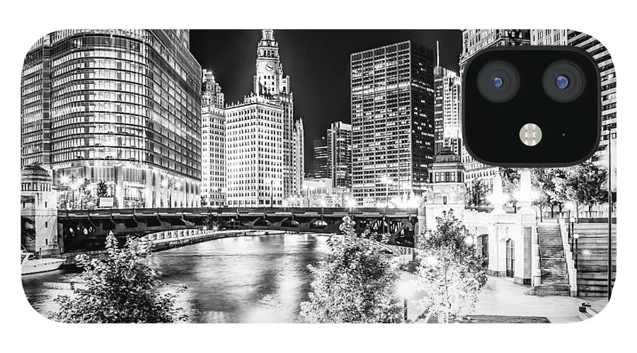 America IPhone 12 Case featuring the photograph Chicago River Buildings at Night in Black and White by Paul Velgos