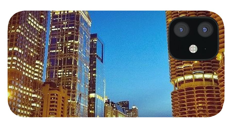 Cityscape IPhone 12 Case featuring the photograph Chicago River Buildings At Night Taken by Paul Velgos