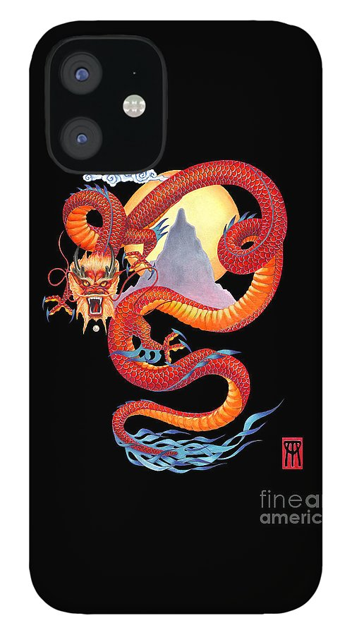Dragon iPhone 12 Case featuring the painting Chinese Dragon on Black by Melissa A Benson