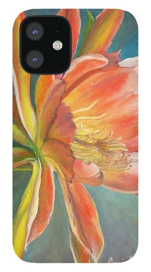 Acrylic IPhone 12 Case featuring the painting Cierge en Fleur by Muriel Dolemieux