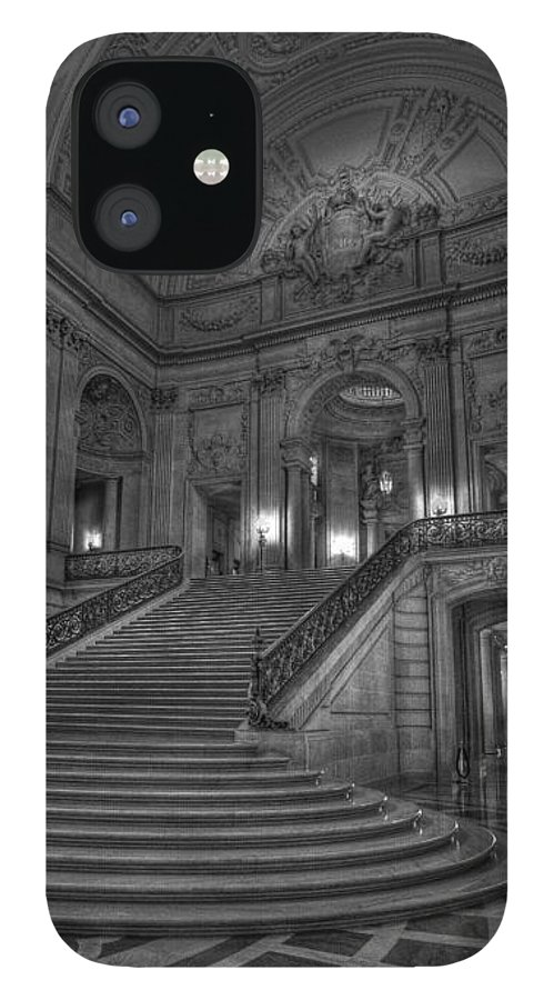 Black And White IPhone 12 Case featuring the photograph City Hall Grand Stairs by David Bearden