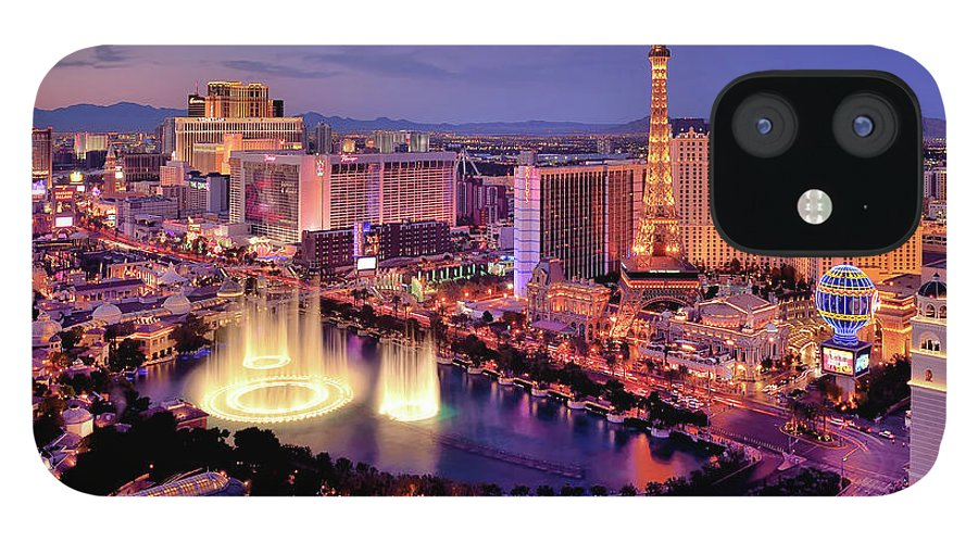 Built Structure iPhone 12 Case featuring the photograph City Skyline At Night With Bellagio by Rebeccaang
