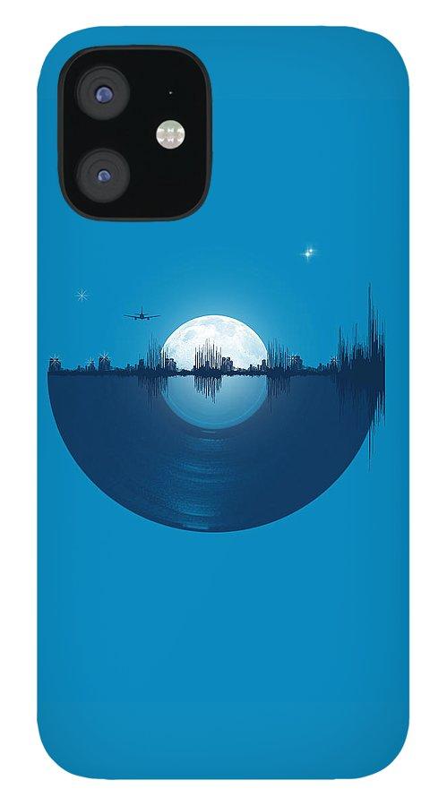 City IPhone 12 Case featuring the digital art City tunes by Neelanjana Bandyopadhyay