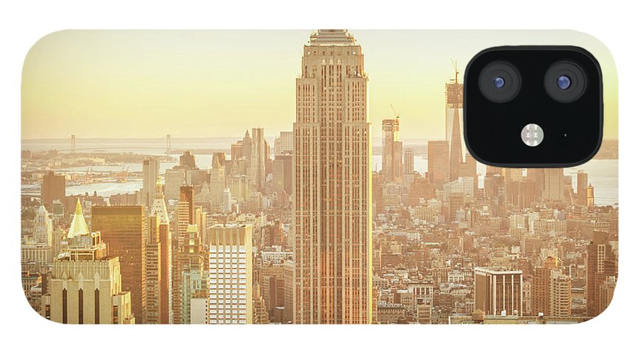 Scenics IPhone 12 Case featuring the photograph Cityscape Manhattan Sunset New York by Mlenny