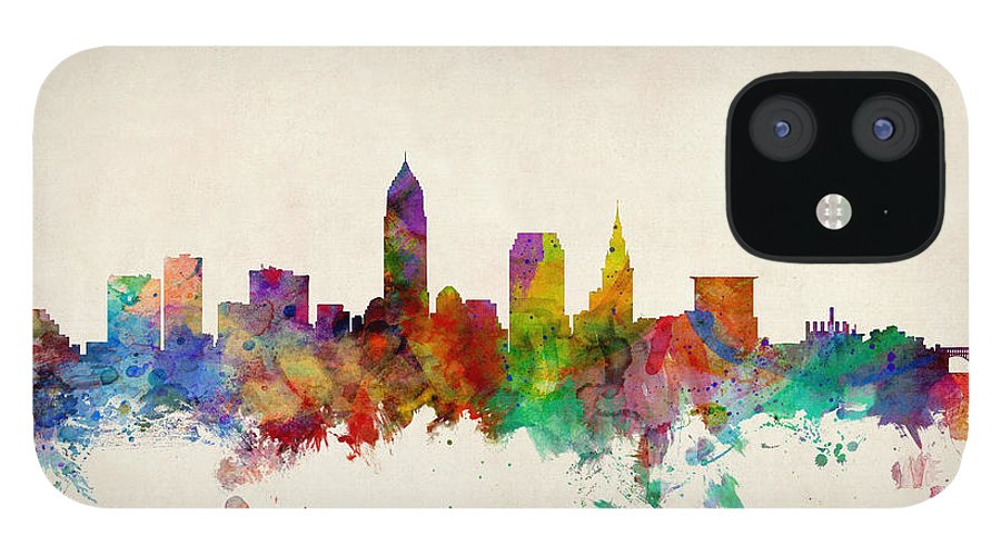 Watercolour IPhone 12 Case featuring the digital art Cleveland Ohio Skyline by Michael Tompsett