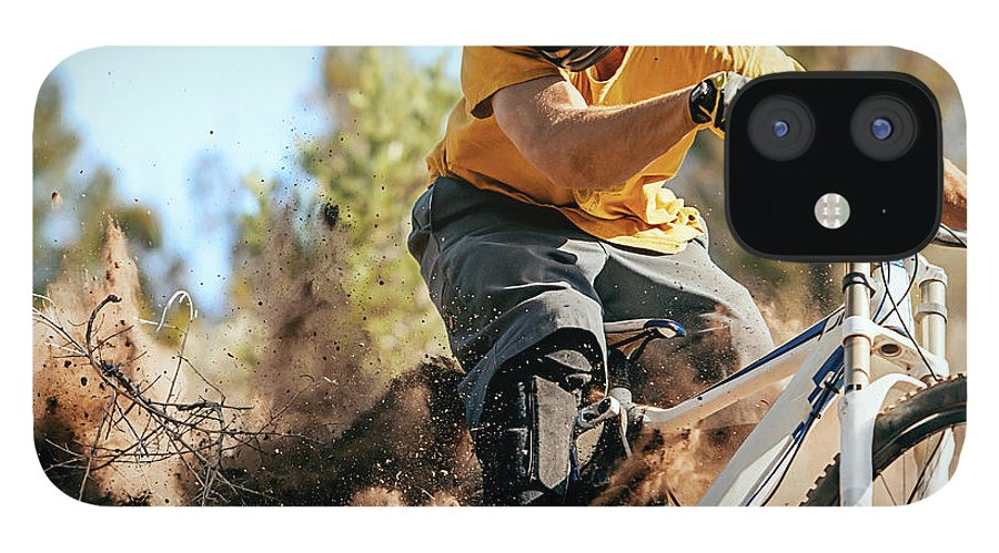 Headwear IPhone 12 Case featuring the photograph Close Up Of A Mountain Biker Ripping by Daniel Milchev