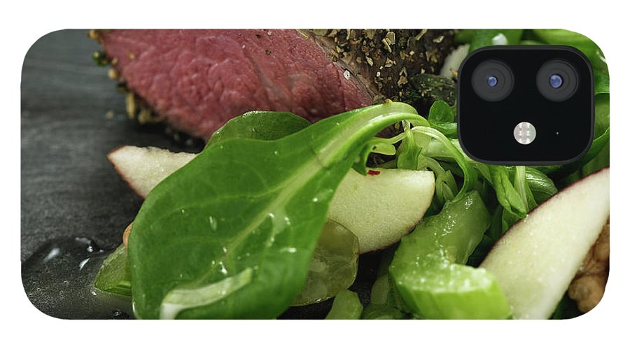 Tenderloin IPhone 12 Case featuring the photograph Close Up Of Salad And Roasted Meat by Lisbeth Hjort