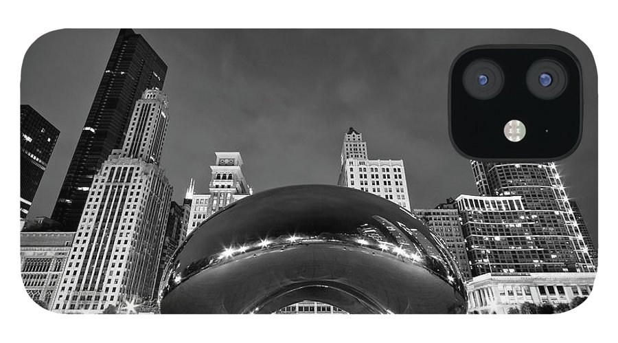 3scape IPhone 12 Case featuring the photograph Cloud Gate and Skyline by Adam Romanowicz