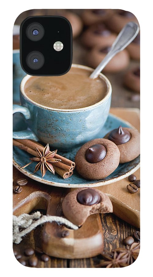 Temptation iPhone 12 Case featuring the photograph Coffee And Cookies by Verdina Anna