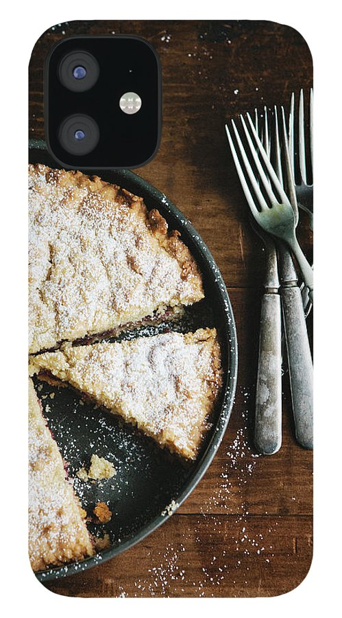 Kitchen Knife IPhone 12 Case featuring the photograph Coffee Cake In Rustic Pan With Forks by Alina Spradley