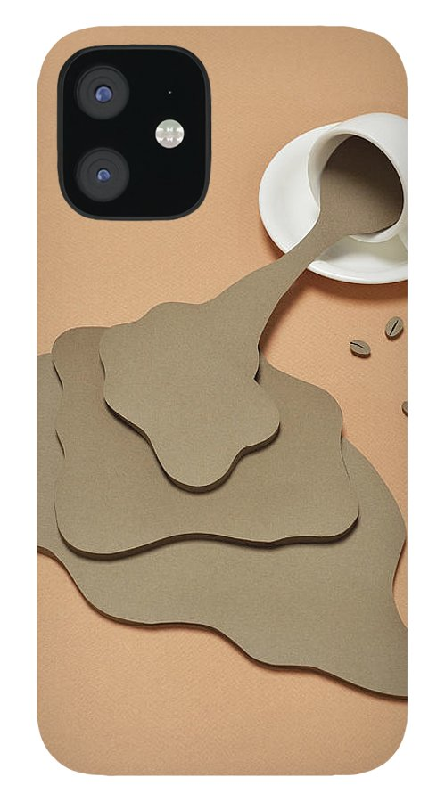 Inspiration iPhone 12 Case featuring the photograph Coffee Spilling Out From A Coffee Cup by Yagi Studio