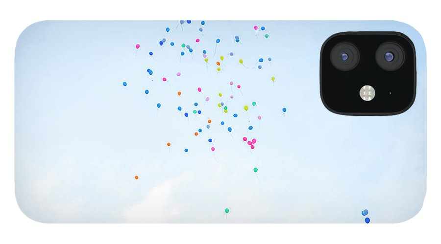 Event IPhone 12 Case featuring the photograph Colorful Balloons Flying Away In Blue by Malorny