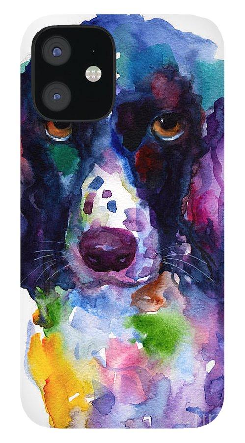 Hunter Dog IPhone 12 Case featuring the painting Colorful English Springer Setter Spaniel dog portrait art by Svetlana Novikova