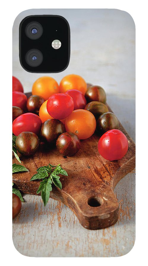 Cutting Board IPhone 12 Case featuring the photograph Colorful Tomatoes by ©tasty Food And Photography