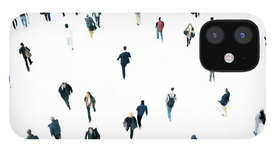 Working IPhone 12 Case featuring the photograph Commuters by Ferrantraite