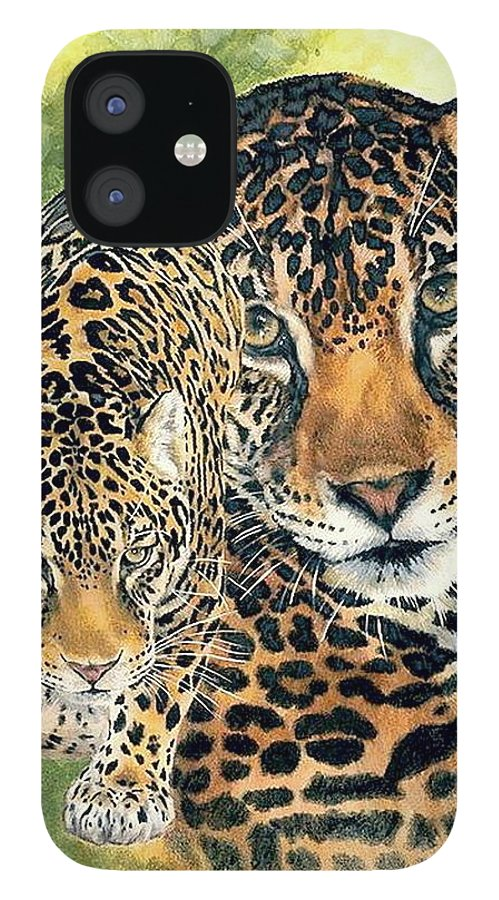Jaguar IPhone 12 Case featuring the mixed media Compelling by Barbara Keith