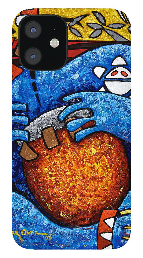 Puerto Rico iPhone 12 Case featuring the painting Conga on Fire by Oscar Ortiz