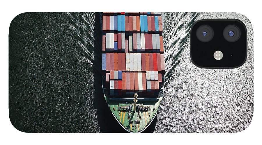 Freight Transportation IPhone 12 Case featuring the photograph Container Ship Bow by Dan prat