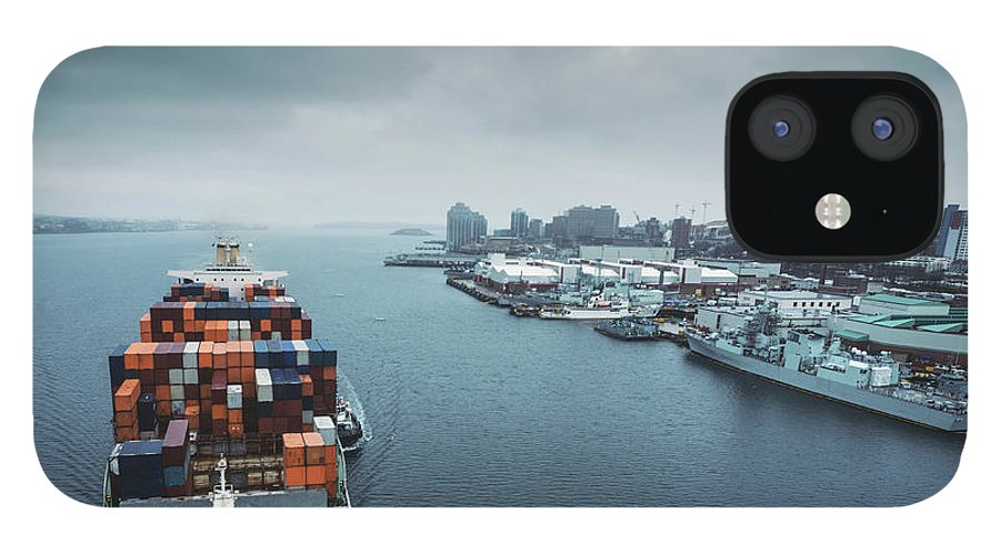 Freight Transportation IPhone 12 Case featuring the photograph Container Ship In Halifax Harbour by Shaunl