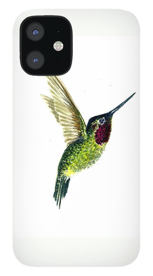 Animals IPhone 12 Case featuring the painting Costa's Hummingbird by Michael Vigliotti