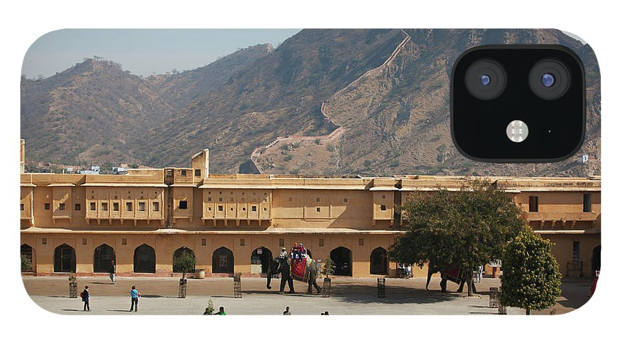 Shadow IPhone 12 Case featuring the photograph Courtyard Of Amer Fort, Rajasthan by Bjarte Rettedal