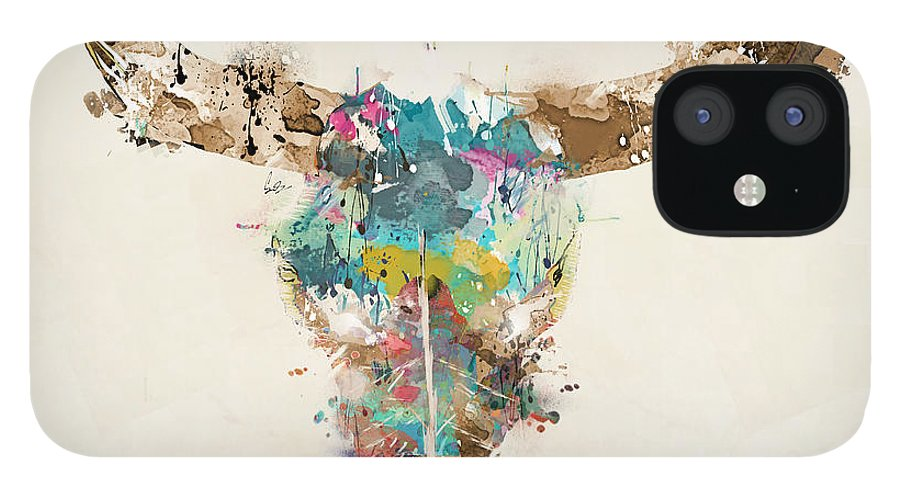 Cow Skull IPhone 12 Case featuring the painting Cow Skull by Bri Buckley