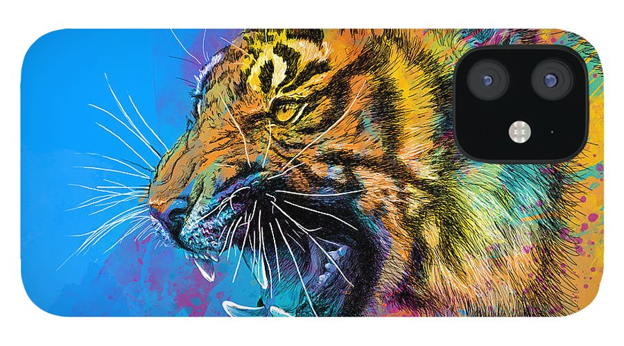 Tiger IPhone 12 Case featuring the digital art Crazy Tiger by Olga Shvartsur