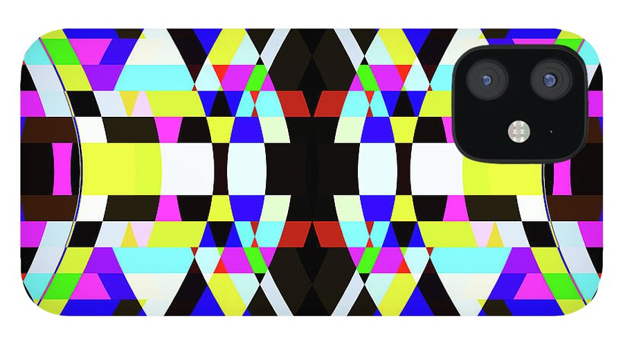 Rectangle iPhone 12 Case featuring the digital art Creative Shapes Abstract Design by Raj Kamal