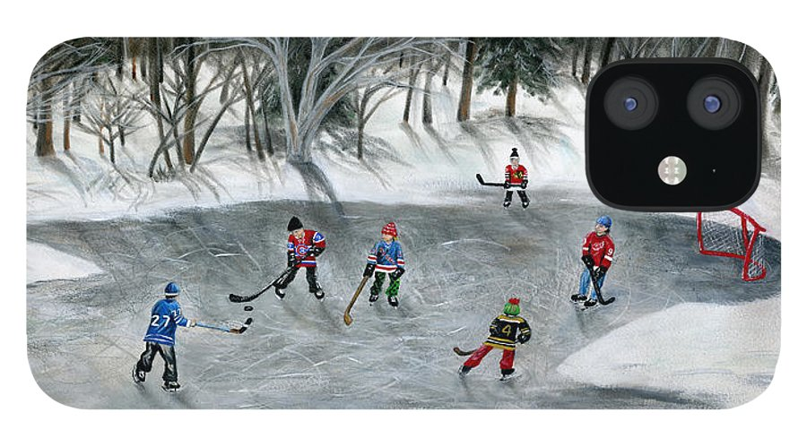 Hockey iPhone 12 Case featuring the painting Credit River Dreams by Brianna Mulvale