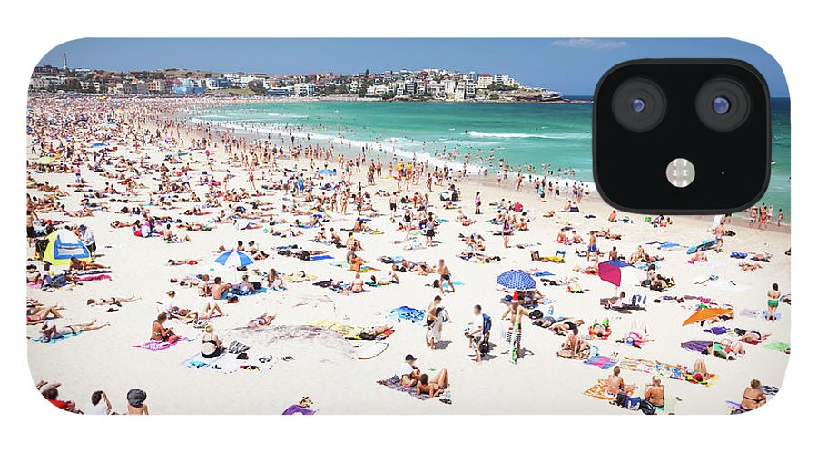 Water's Edge IPhone 12 Case featuring the photograph Crowded Bondi Beach, Sydney, Australia by Matteo Colombo