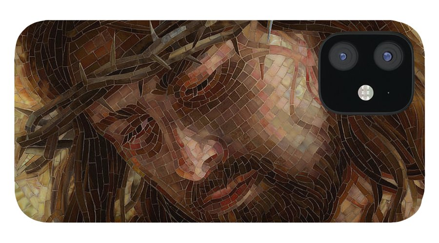 Jesus iPhone 12 Case featuring the painting Crown of Thorns Glass Mosaic by Mia Tavonatti