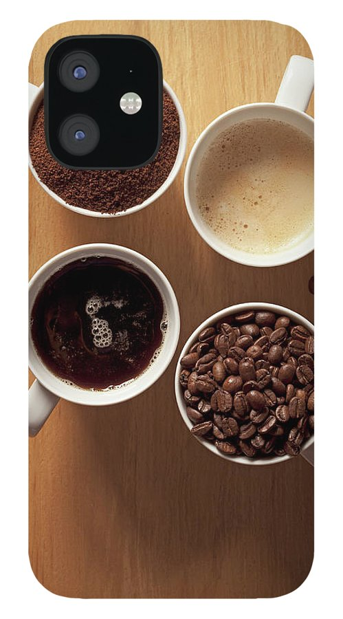 Shadow IPhone 12 Case featuring the photograph Cups Of Coffee And Coffee Beans by Larry Washburn