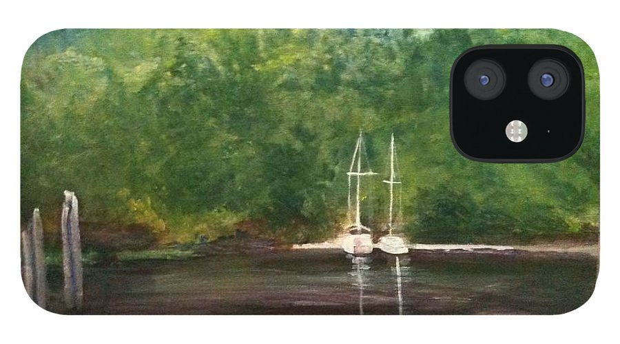 Plein Aire IPhone 12 Case featuring the painting Curtain's Marina by Sheila Mashaw