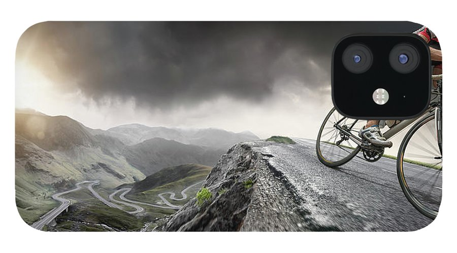 Sports Helmet IPhone 12 Case featuring the photograph Cyclist Climbs To The Top by Peepo