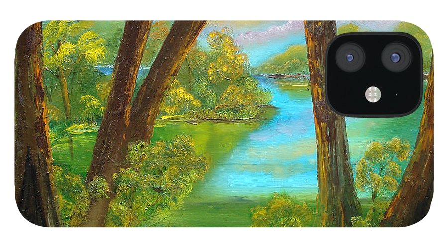 Cypress IPhone 12 Case featuring the painting cypress Hidout by Darlene Green