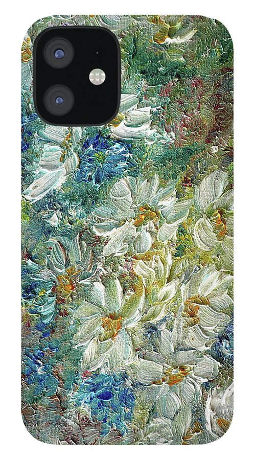 Daisy Painting IPhone 12 Case featuring the painting Daisy Chain by Karin Dawn Kelshall- Best