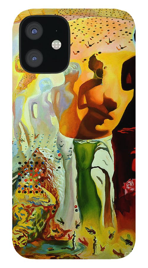 Salvador Dali IPhone 12 Case featuring the painting Dali Oil Painting Reproduction - The Hallucinogenic Toreador by Mona Edulesco
