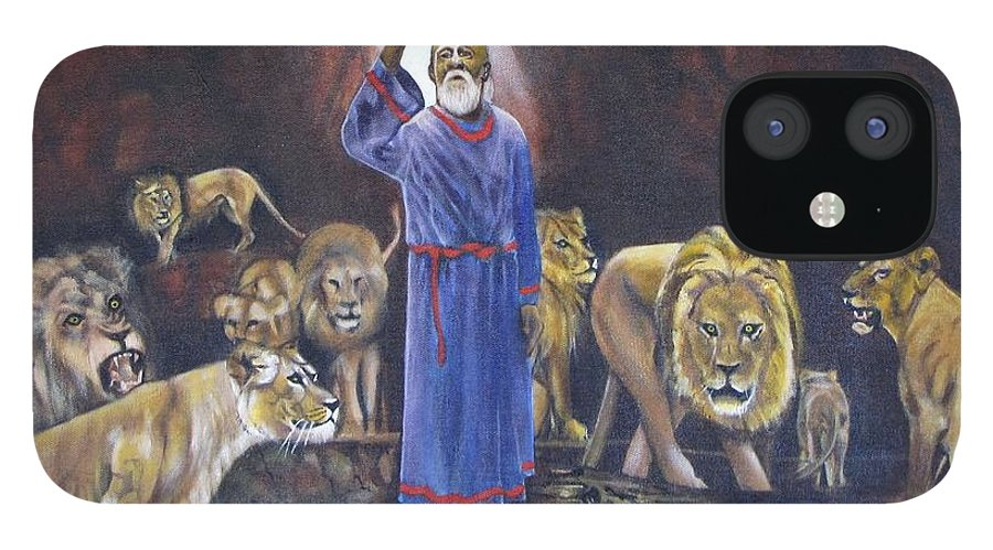 Daniel In The Lions Den; Lions; Animals; Rock; Bible; Biblical; Religion; Old Testiment; IPhone 12 Case featuring the painting Daniel by Howard Stroman