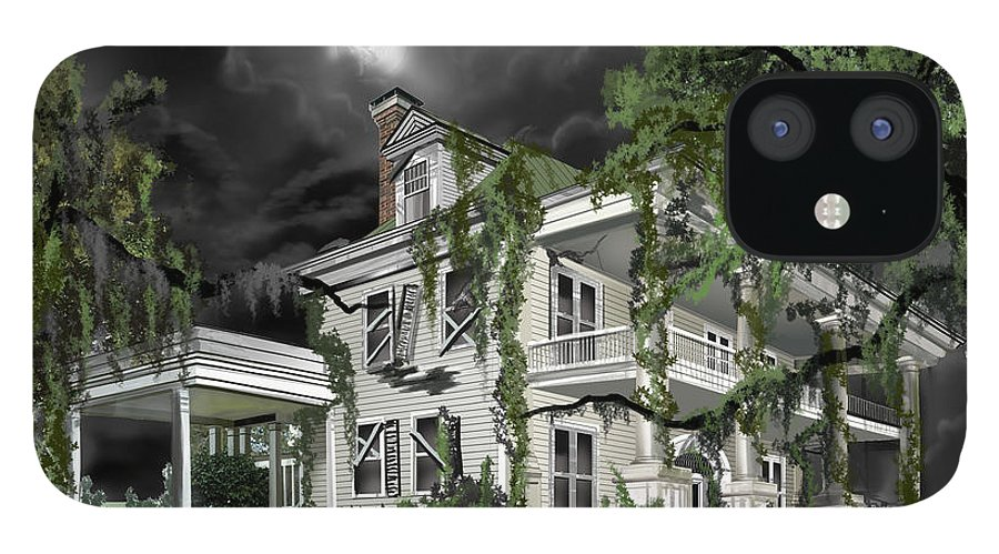 iPhone 12 Case featuring the painting Dark Plantation House by James Christopher Hill