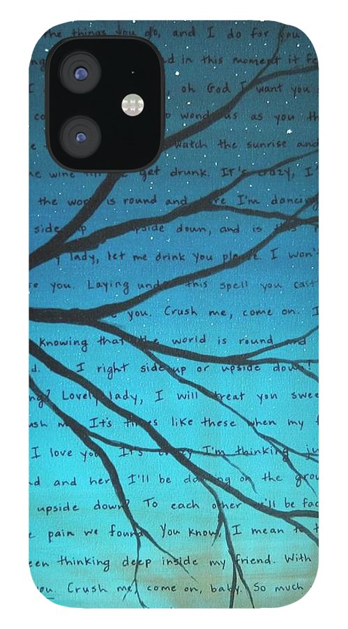 Dave Matthews Band IPhone 12 Case featuring the painting Dave Matthews Band Crush Lyric Art - Blue by Michelle Eshleman