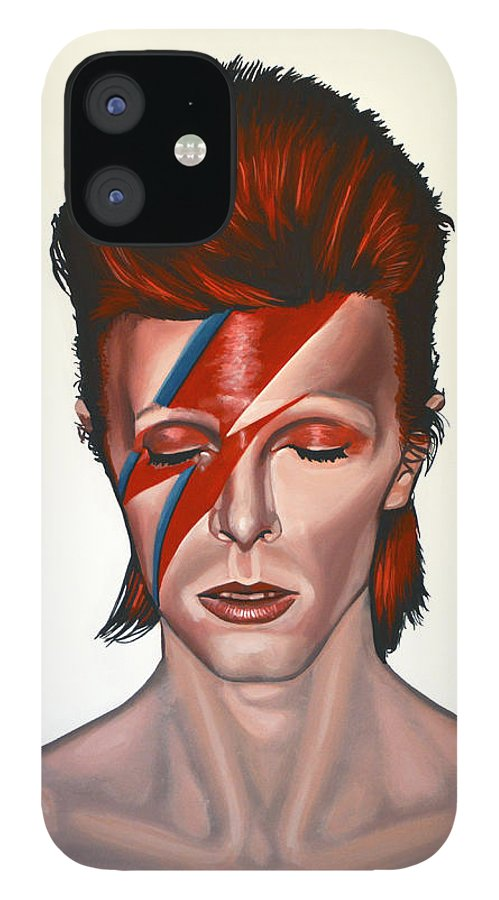 David Bowie IPhone 12 Case featuring the painting David Bowie Aladdin Sane by Paul Meijering