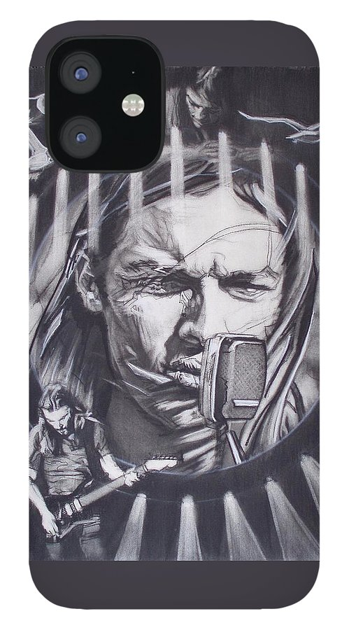 Charcoal On Paper IPhone 12 Case featuring the drawing David Gilmour Of Pink Floyd - Echoes by Sean Connolly