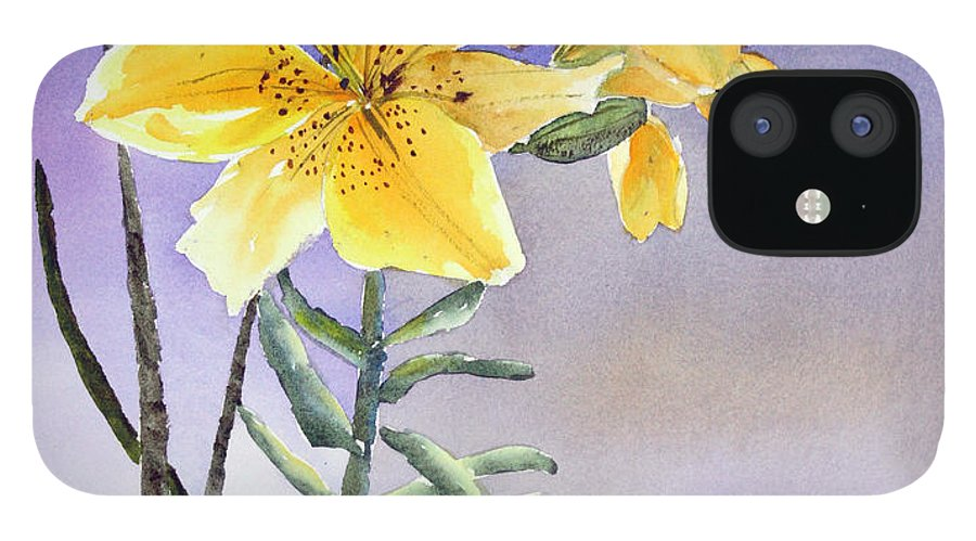 Lily IPhone 12 Case featuring the painting Daylilies by Patricia Novack