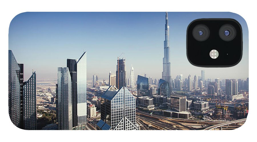 Downtown District IPhone 12 Case featuring the photograph Dbuai Sky Line With Traffic Junction by Tempura