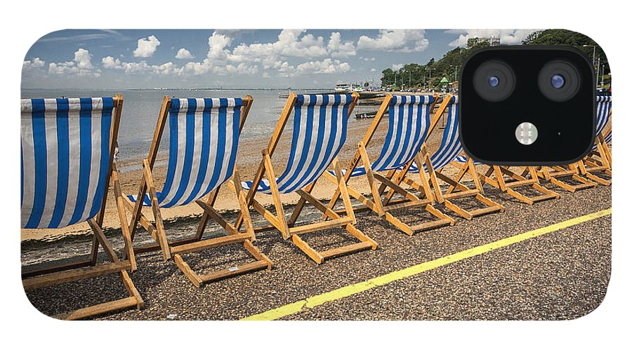 Empty Deckchairs IPhone 12 Case featuring the photograph Deckchairs at Southend by Sheila Smart Fine Art Photography
