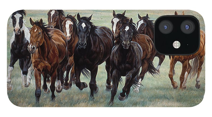 Michelle Grant iPhone 12 Case featuring the painting Deco Horses by JQ Licensing